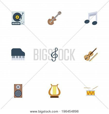 Flat Icons Octave Keyboard, Tone Symbol, Audio Box And Other Vector Elements