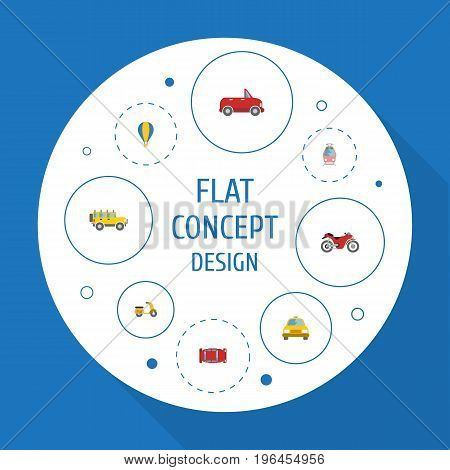 Flat Icons Transport, Automotive, Airship And Other Vector Elements
