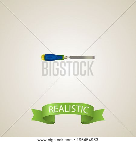 Realistic Carpenter Element. Vector Illustration Of Realistic Chisel On Clean Background