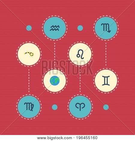 Flat Icons Earth Planet, Ram, Zodiac Sign And Other Vector Elements