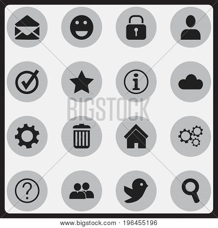 Set Of 16 Editable Network Icons. Includes Symbols Such As Dove, Faq, Bookmark And More