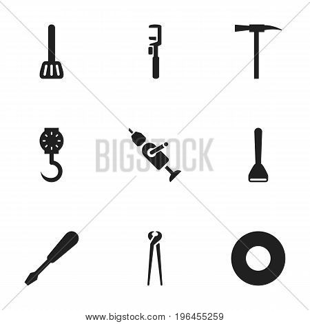 Set Of 9 Editable Apparatus Icons. Includes Symbols Such As Pincers, Turn-Screw, Balance And More