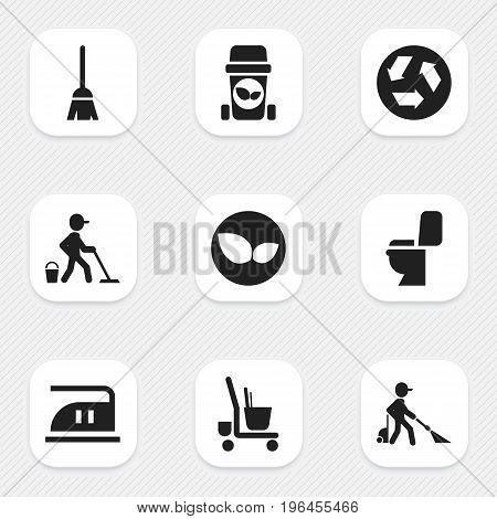 Set Of 9 Editable Cleaning Icons. Includes Symbols Such As Cleaner, Trash Bin, Broomstick And More