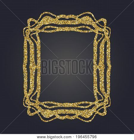 Art Nouveau gold glitter elegant smooth lines decorative rectangle vector frame for design. Art Deco style fine border ornament