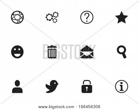 Set Of 12 Editable Internet Icons. Includes Symbols Such As Dove, Magnifier, Profile And More