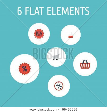 Flat Icons Percentage, Bag, Dress Stand Vector Elements