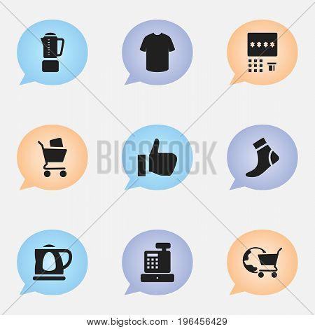 Set Of 9 Editable Shopping Icons. Includes Symbols Such As Hosiery, Boy Blouse, Automatic Teller Machine And More