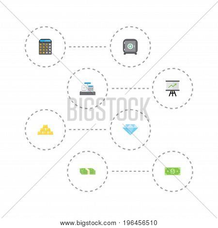 Flat Icons Growing Chart, Strongbox, Jewel Gem And Other Vector Elements