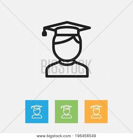 Vector Illustration Of Education Symbol On Graduate Outline