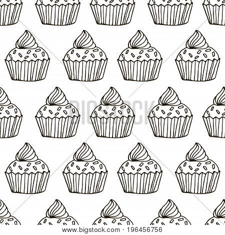 Cute hand drawn cupcake seamless pattern. Cake of black thin line contour on white background. Coloring book for adults page. Vector illustration.