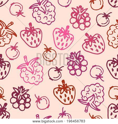 Cute hand drawn berry seamless pattern. Sketch of strawberry raspberries foxberry blackberry on pastel pink background. Vector illustration.