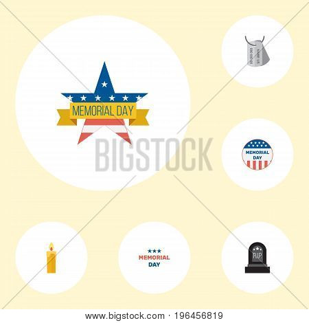 Flat Icons Memorial Day, Identity, Fire Wax And Other Vector Elements