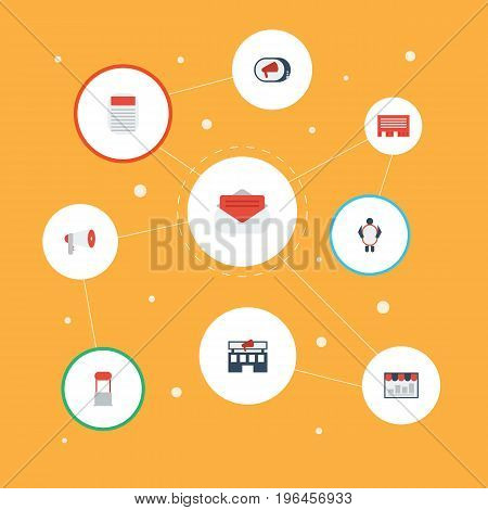 Flat Icons Building, Man With Banner, Letter And Other Vector Elements