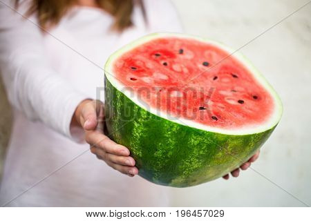 Watermelon In The Hands Of The Girl Close-up