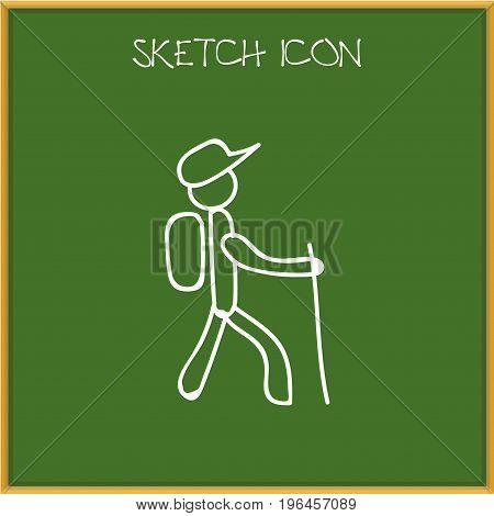 Vector Illustration Of Travel Symbol On Walking Man Doodle