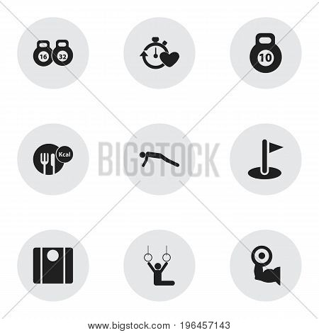 Set Of 9 Editable Lifestyle Icons. Includes Symbols Such As Physical Education, Strength, Acrobat And More