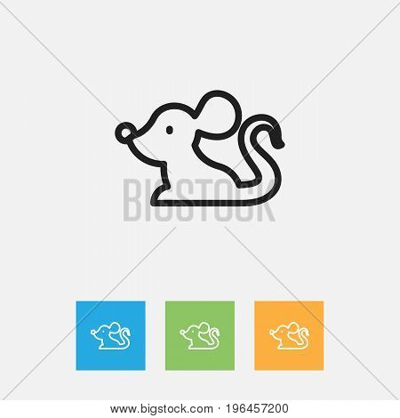 Vector Illustration Of Animal Symbol On Mouse Outline