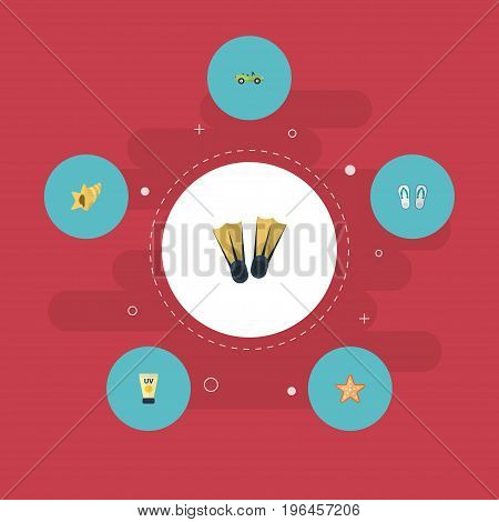 Flat Icons Slippers, Shell, Anti-Sun Cream And Other Vector Elements