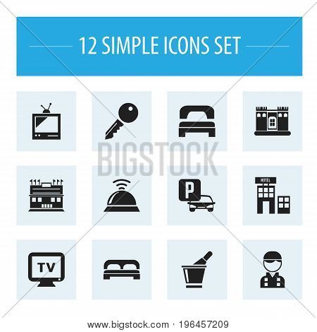 Set Of 12 Editable Motel Icons. Includes Symbols Such As Monitor, Sleeping, Fortress And More