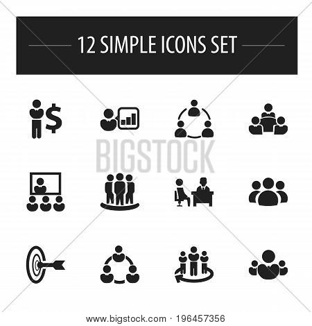 Set Of 12 Editable Community Icons. Includes Symbols Such As Command, Finance Director, Meeting