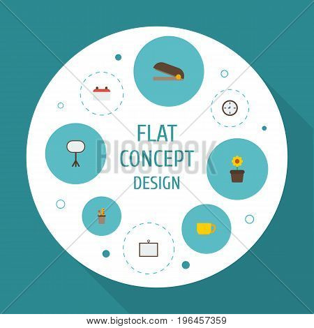Flat Icons Plant Pot, Date, Tea And Other Vector Elements