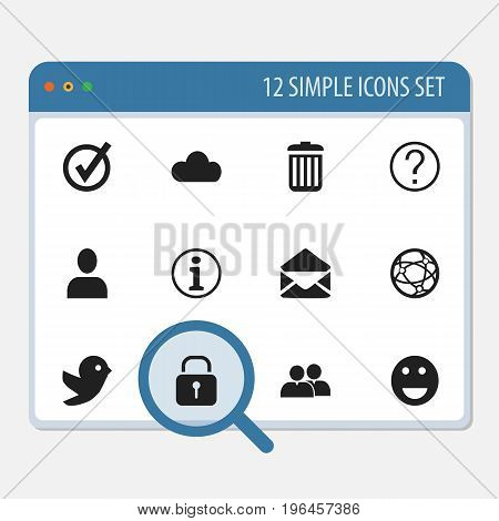 Set Of 12 Editable Web Icons. Includes Symbols Such As Letter, Dove, Group And More