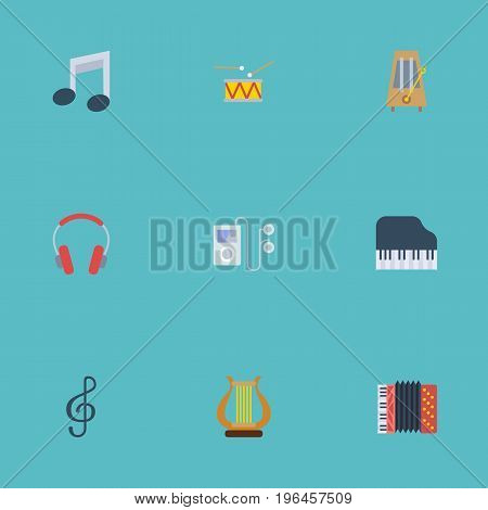 Flat Icons Quaver, Octave Keyboard, Mp3 Player And Other Vector Elements