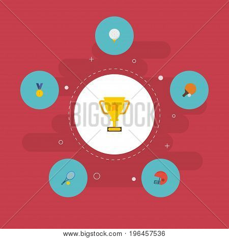 Flat Icons Rugby, Reward, Table Tennis And Other Vector Elements
