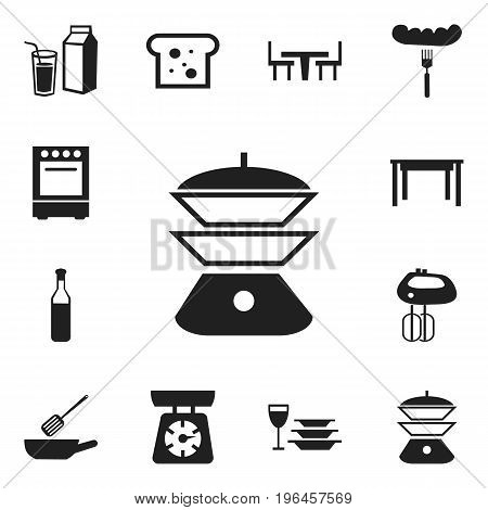 Set Of 12 Editable Cooking Icons. Includes Symbols Such As Hot Dog, Lactose, Desk And More