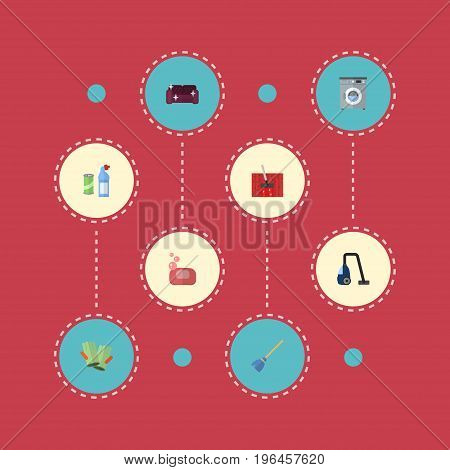 Flat Icons Laundromat, Gauntlet, Sweeper And Other Vector Elements
