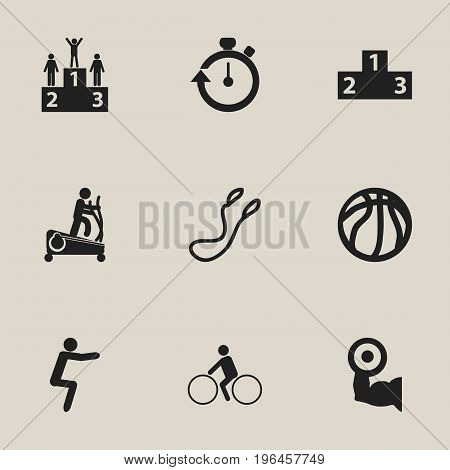 Set Of 9 Editable Fitness Icons. Includes Symbols Such As Instruction Male, Heavy Training, Stopwatch And More