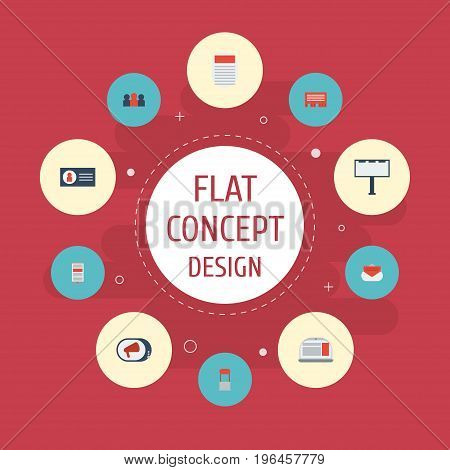 Flat Icons Advertising, Application, Id And Other Vector Elements