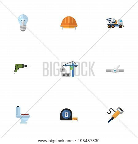 Flat Icons Restroom, Hardhat, Roll Meter And Other Vector Elements