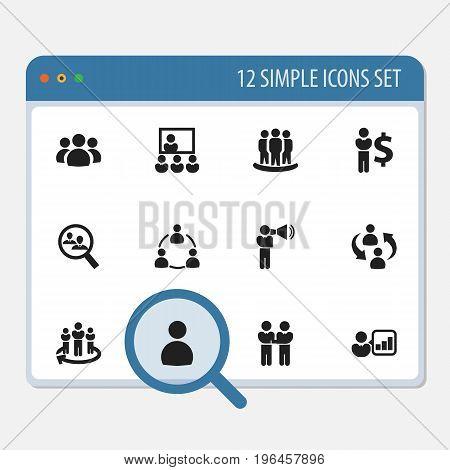 Set Of 12 Editable Team Icons. Includes Symbols Such As Command, Publicity, Male