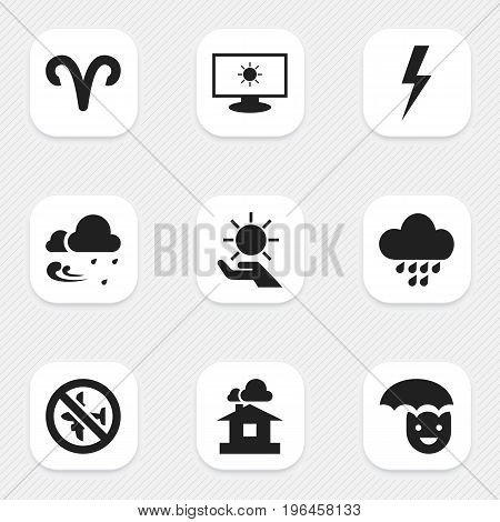 Set Of 9 Editable Weather Icons. Includes Symbols Such As Ram, Domicile, Tempest And More