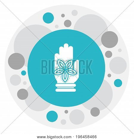 Vector Illustration Of Dyne Symbol On Fatima Hand Icon