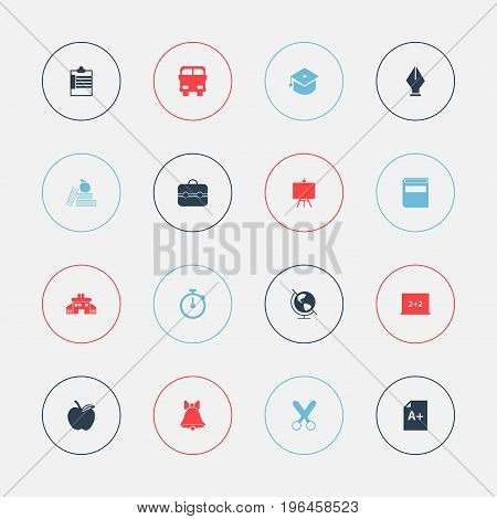 Set Of 16 Editable Knowledge Icons. Includes Symbols Such As Writing Board, Trunk, Textbook And More