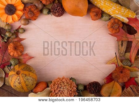 Colorful autumn frame with vintage paper background