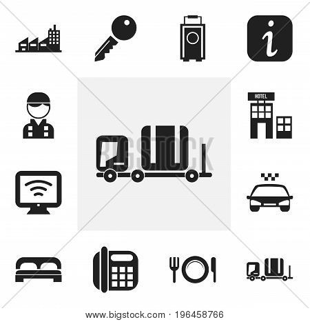 Set Of 12 Editable Hotel Icons. Includes Symbols Such As Building, Transport Car, Bed And More