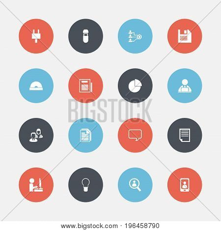 Set Of 16 Editable Bureau Icons. Includes Symbols Such As Message Bubble, Employee, Circle Diagram And More
