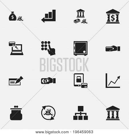 Set Of 16 Editable Banking Icons. Includes Symbols Such As Building, Finance Protection, Hierarchy And More