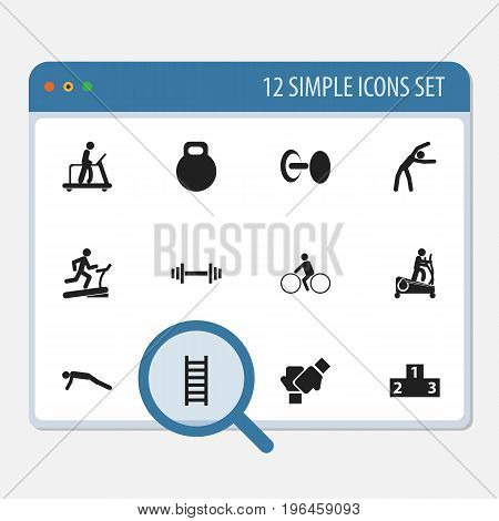 Set Of 12 Editable Training Icons. Includes Symbols Such As Racetrack Training, Executing Running, Strength And More