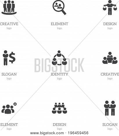 Set Of 9 Editable Cooperation Icons. Includes Symbols Such As Teamwork, Partnership, Agreement And More