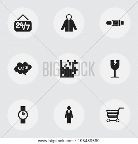 Set Of 9 Editable Trade Icons. Includes Symbols Such As Open Everyday, Pushcart, Identification And More