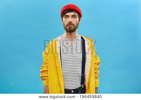 People, Style And Fashion Concept. Portrait Of Handsome European Male Model With Beard Dressed In St