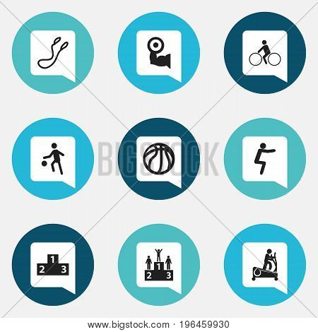 Set Of 9 Editable Training Icons. Includes Symbols Such As Jump Training, Platform For Winner, Bicycle Rider And More