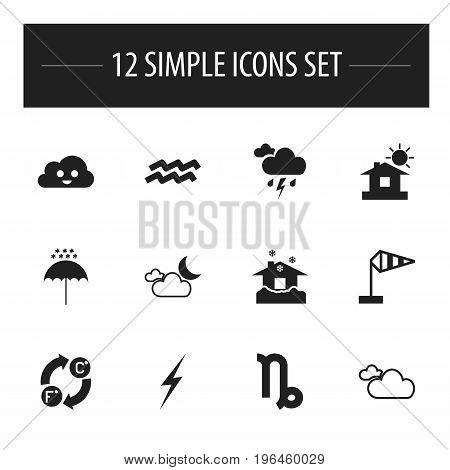 Set Of 12 Editable Air Icons. Includes Symbols Such As Electricity, Happy Overcast, Cloudy Sky And More