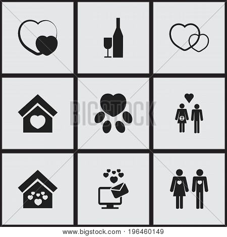 Set Of 9 Editable Passion Icons. Includes Symbols Such As Building, Like, Shape And More