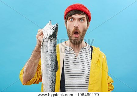 Headshot Of Emotional Guy Wearing Red Hat And Yellow Raincoat Holding Huge Long Sea Fish In His Hand