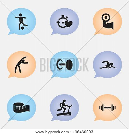 Set Of 9 Editable Sport Icons. Includes Symbols Such As Training Pool, Heavy Training, Cloth Ruler And More